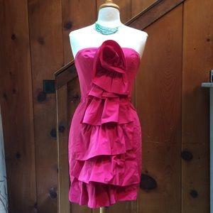 BCBG MaxAzria Azalea Strapless Rosette Dress